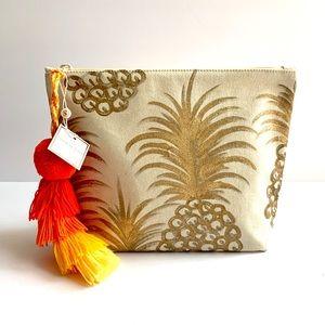 Shiraleah Canvas Pineapple Cosmetic Bag w/Tassel